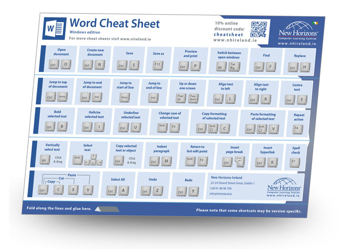 Microsoft Word Keyboard Shortcut Cheat Sheet Ireland