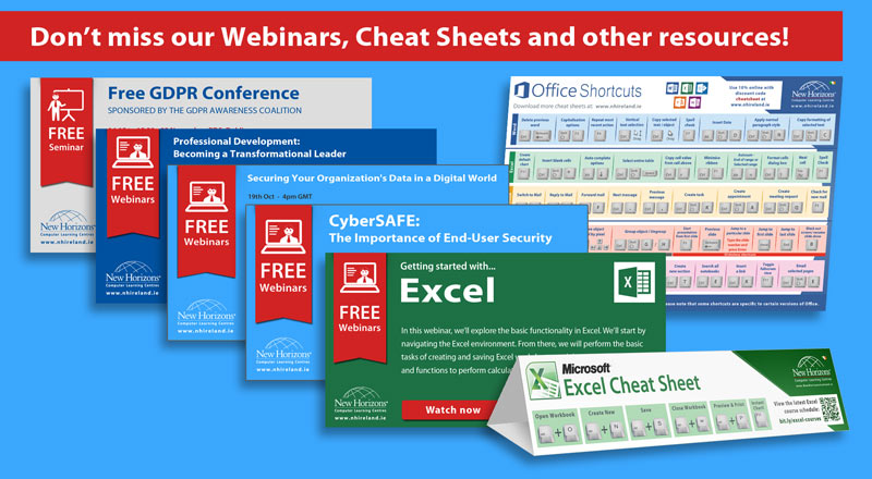 Free learning resources including webinars, cheat sheets and quick start guides