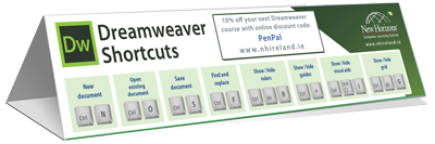 Dreamweaver keyboard shortcut cheat sheet
