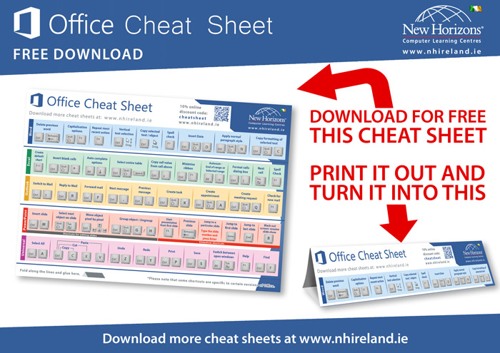Microsoft Office keyboard shortcut cheat sheet quick reference card