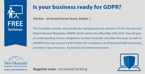 Seminar: Is your business ready for GDPR? - 7th Nov
