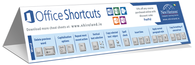 Microsoft Office keyboard shortcut cheat sheet
