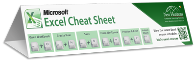 Excel keyboard shortcut cheat sheet